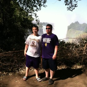 Stuart & Will Chowning (CCMS Student) in Victoria Falls, Zimbabwe