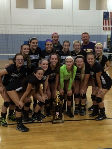 Campbell County Junior Varsity Volleyball celebrates after winning the Cupcake Classic
