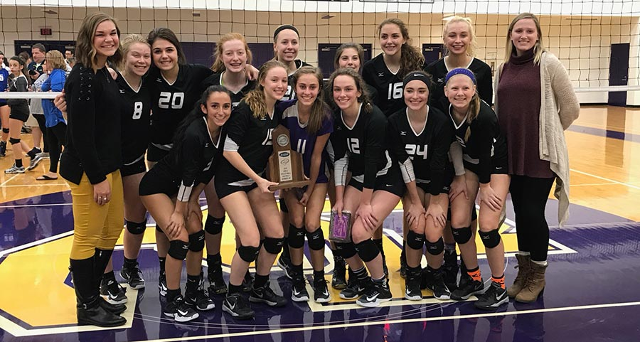 Campbell County Camel's Volleyball team with the 2017 KHSAA 37th District Runner-Up Trophy