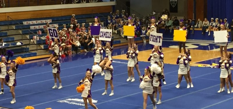 Campbell County Cheerleaders at the 2017 10th region cheerleading competition