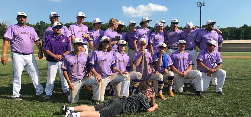 Baseball celebrating winning the 2018 regional championship